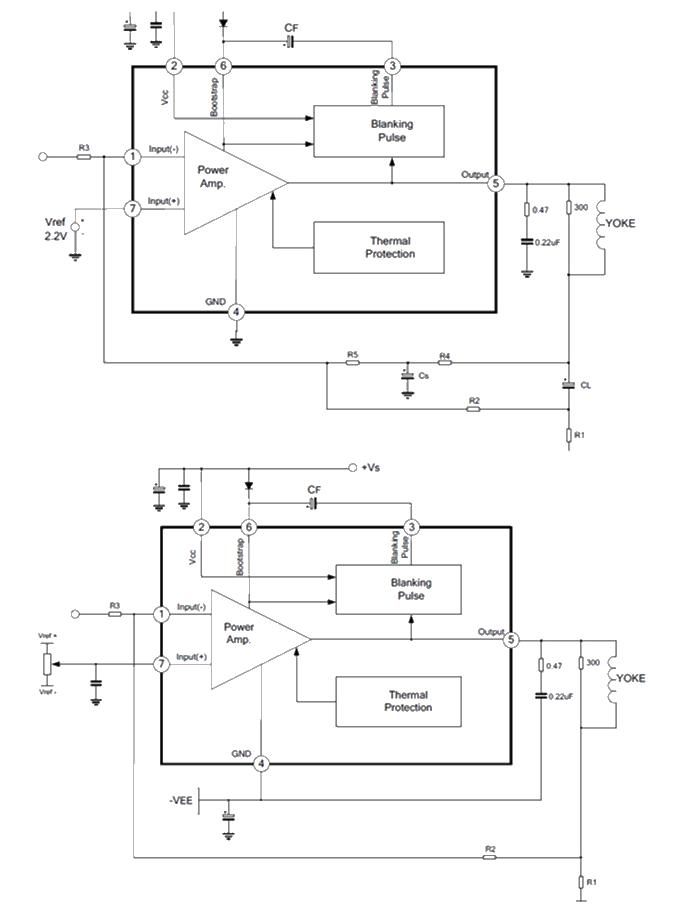 *内置消隐发生器  *内置热保护  *大输出电流:2.